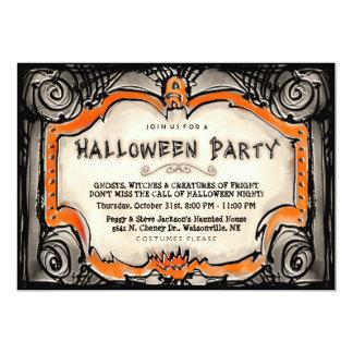 ハローウィンパーティの招待-黒及びオレンジボーダー カード