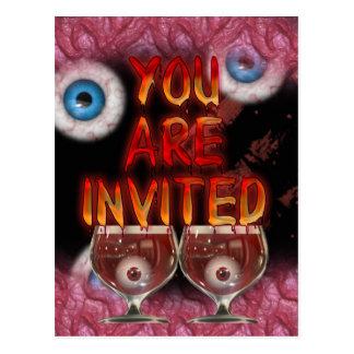 ハローウィンパーティの気味が悪い身体部分の招待 ポストカード