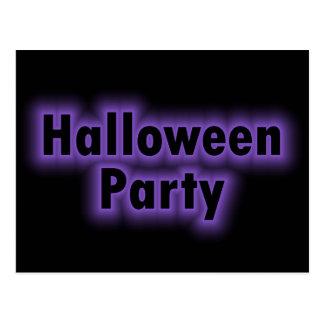 ハローウィンパーティの紫色の白熱 ポストカード