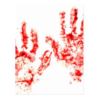 ハローウィンパーティの血のHandprintのデザイン ポストカード