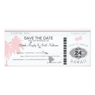 ハワイに日付の搭乗券を救って下さい 10.2 X 23.5 インビテーションカード
