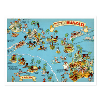 ハワイのおもしろいなヴィンテージの地図 ポストカード