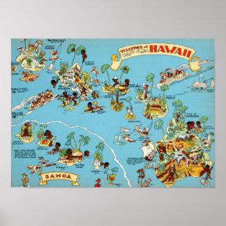 ハワイのおもしろいな地図 ポスター