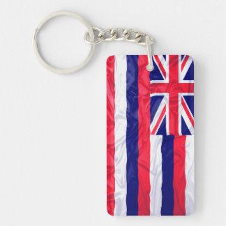 ハワイのしわを寄せられた旗 長方形(両面)アクリル製キーホルダー