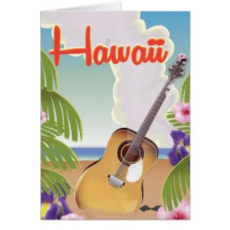 ハワイのアコースティックギターのヴィンテージ旅行ポスター カード