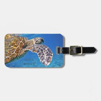 ハワイのウミガメの水泳 ラゲッジタグ