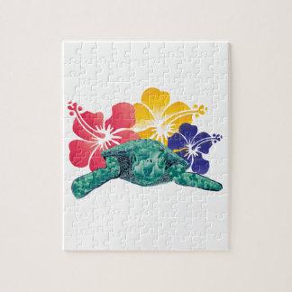 ハワイのカメおよびハイビスカスの花 ジグソーパズル