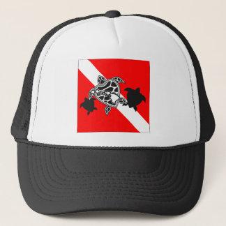ハワイのカメの飛び込みの旗 キャップ
