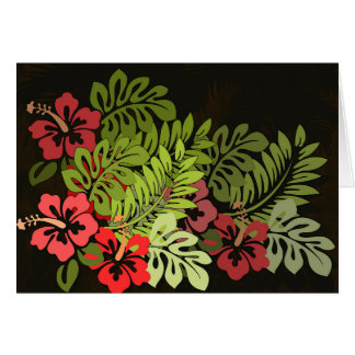 ハワイのサーファーのアロハ花の芸術のプリントの花柄 グリーティングカード