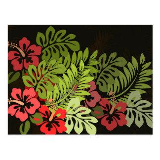 ハワイのサーファーのアロハ花の芸術のプリントの花柄 ポストカード