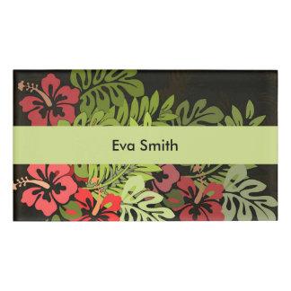 ハワイのサーファーのアロハ花の芸術のプリントの花柄 名札