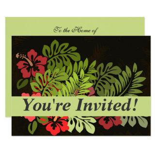 ハワイのサーファーのアロハ花の芸術のプリントの花柄 11.4 X 15.9 インビテーションカード