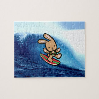 ハワイのサーフィンのバニーの休日の漫画 ジグソーパズル