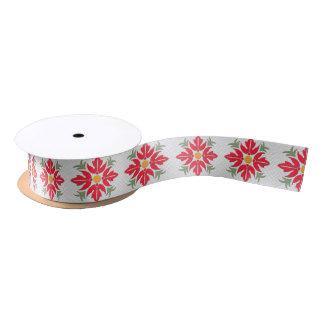 ハワイのスタイルの花のキルトの赤 サテンリボン