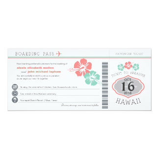 ハワイのハイビスカスの搭乗券の結婚式 カード