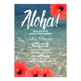 ハワイのハイビスカスの熱帯ビーチのブライダルシャワー カード