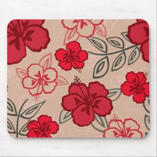 ハワイのハイビスカスパターン赤 マウスパッド