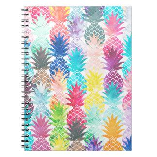 ハワイのパイナップルパターン熱帯水彩画 ノートブック