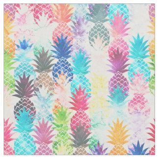 ハワイのパイナップルパターン熱帯水彩画 ファブリック
