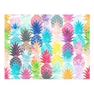 ハワイのパイナップルパターン熱帯水彩画 ポストカード