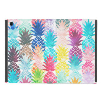 ハワイのパイナップルパターン熱帯水彩画 iPad MINI ケース