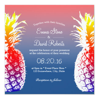 ハワイのパイナップル熱帯結婚式招待状 13.3 スクエアインビテーションカード