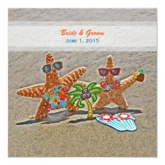 ハワイのヒトデのカップルの結婚式招待状 13.3 スクエアインビテーションカード