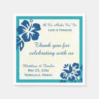 ハワイのビーチによっては名前入りな結婚式のナプキンが開花します スタンダードカクテルナプキン