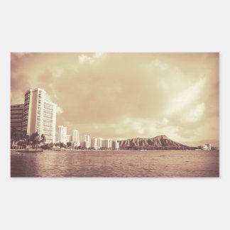ハワイのビーチのヴィンテージの写真 長方形シール