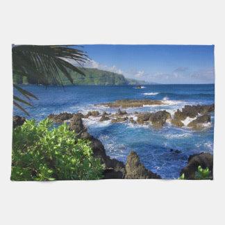 ハワイのビーチの景色 台所タオル