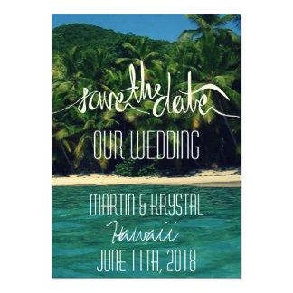 ハワイのビーチ結婚式の保存日付5 x 7 カード