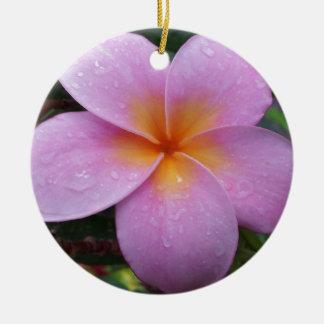 ハワイのピンクのプルメリアの花 セラミックオーナメント