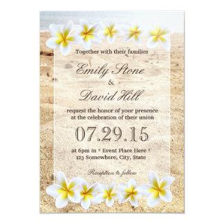 ハワイのプルメリアの花のビーチのテーマの結婚式 カード