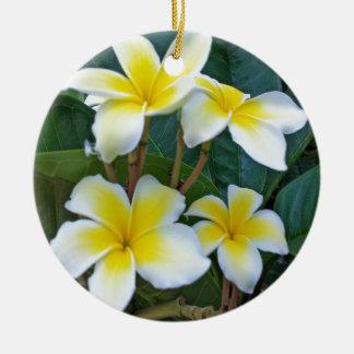 ハワイのプルメリアの花 セラミックオーナメント