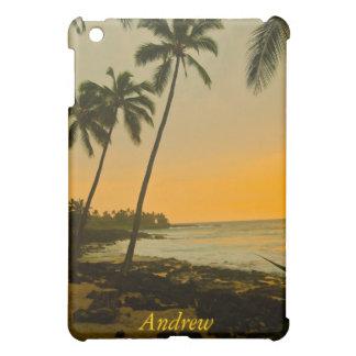 ハワイのヤシの木のビーチの日没 iPad MINI カバー
