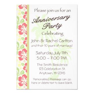ハワイのルアウ(ハワイ式宴会)の結婚記念日のパーティの招待状 12.7 X 17.8 インビテーションカード