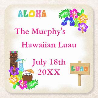ハワイのルアウ(ハワイ式宴会)の飲み物用コースター スクエアペーパーコースター