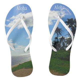 """ハワイの写真とのビーチサンダル+ 及び""""アロハ"""" ビーチサンダル"""
