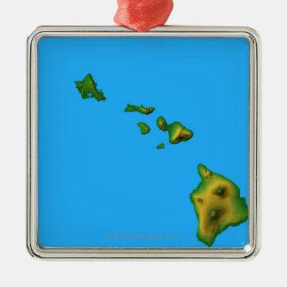 ハワイの地図 メタルオーナメント