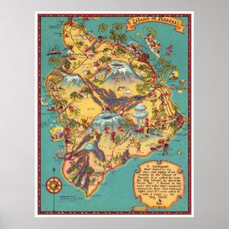 ハワイの島のヴィンテージの地図 ポスター