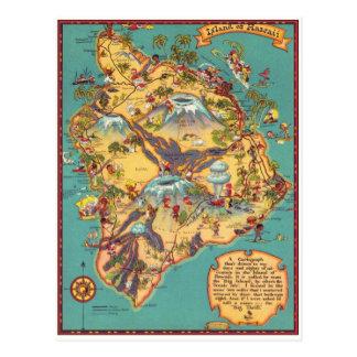ハワイの島のヴィンテージの地図 ポストカード