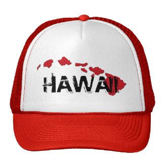 ハワイの島の白く赤い帽子 キャップ