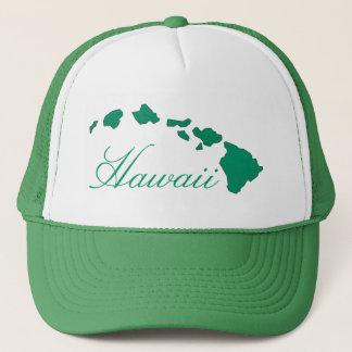 ハワイの島の緑の白の帽子 キャップ