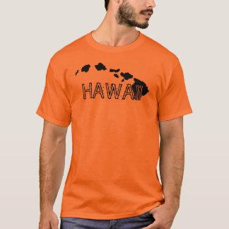 ハワイの島の黒のオレンジ人のティー Tシャツ