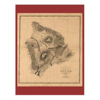 ハワイの島1886年のヴィンテージのハワイアンの地図 ポストカード