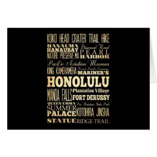 ハワイの州のタイポグラフィの芸術のホノルル都市 カード