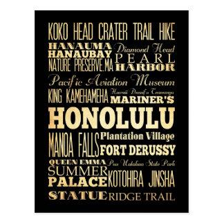 ハワイの州のタイポグラフィの芸術のホノルル都市 ポストカード
