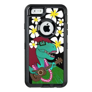 ハワイの恐竜のウクレレ オッターボックスディフェンダーiPhoneケース