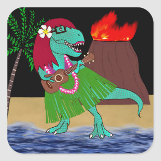 ハワイの恐竜のウクレレ スクエアシール
