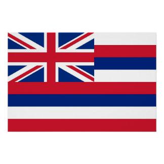 ハワイの旗が付いている愛国心が強い壁ポスター ポスター